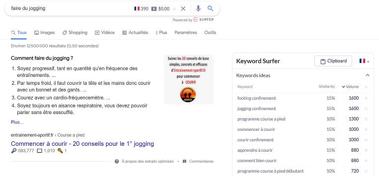 L'outil de rédaction web Keywords surfer